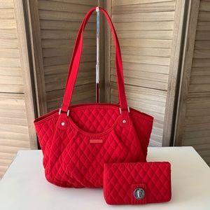 Vera Bradley BUNDLE Glenna Microfiber Cardinal Red with Matching RFID Wallet EUC